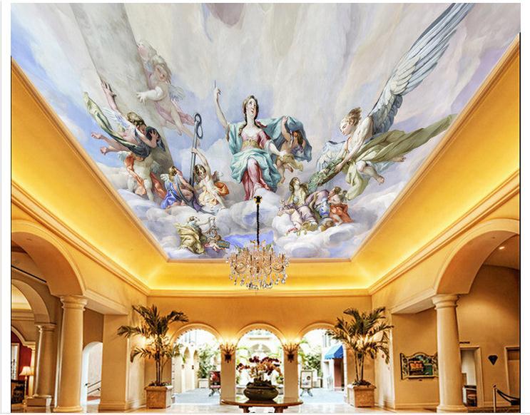 Customized 3d wallpaper 3d ceiling wallpaper murals playing map European zenith ceiling decoration