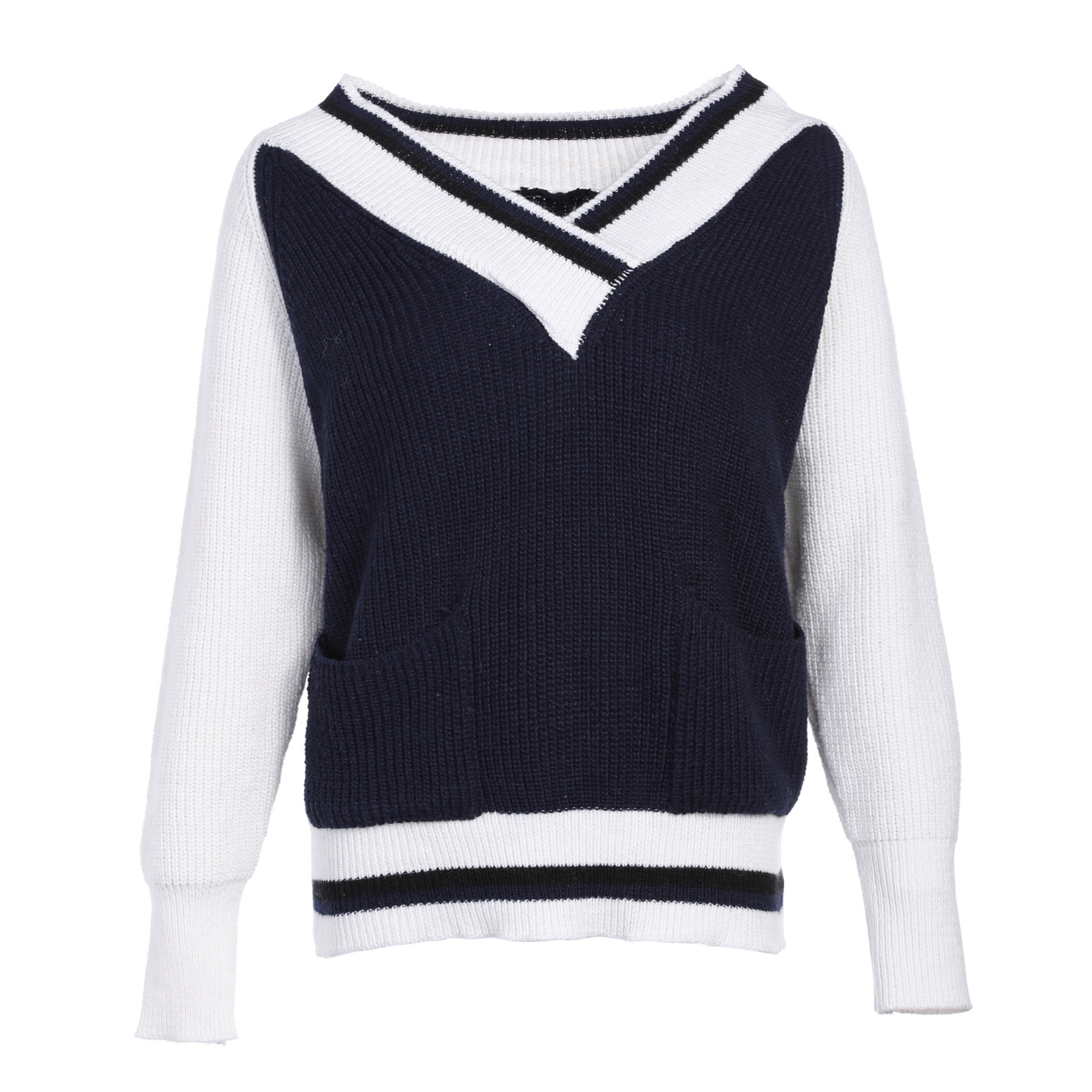 f1f6673527b Sweater Women England Style Striped V neck school Loose navy blue Tops Leisure  Sweaters Knitted Pullovers -in Underwear from Mother   Kids on  Aliexpress.com ...