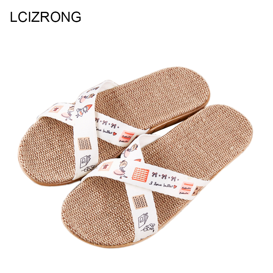 LCIZRONG Summer 23 Colors Cute Cartoon Flax Indoor Slippers Women Fashion Comfortable Bedroom Slippers Non-slip Ladies Slippers