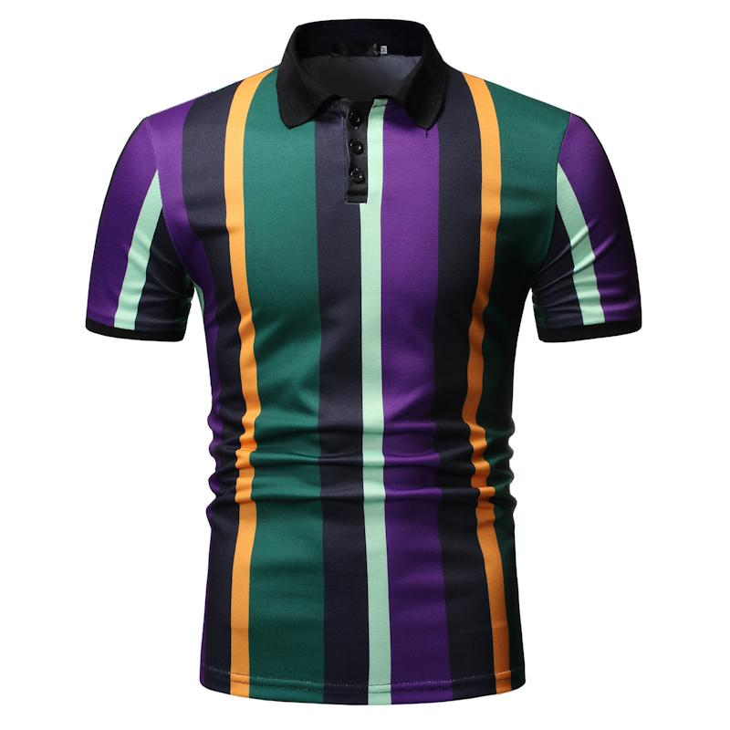 Polo Shirt for Men Casual collar Short sleeve Summer Tops Stripes Tees Blouse New