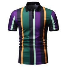 купить Polo Shirt for Men Casual Polo collar Short sleeve Summer Tops Stripes Men Polo Shirt Tees Blouse Men New дешево