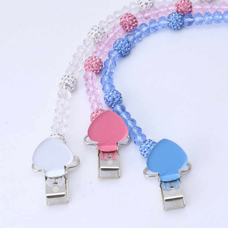 Kryształowe dla dzieci klips smoczka smoczek uchwyt na Folder smoczek klip łańcucha uchwyt na sutek wózek dla dziecka hak wiszące pasek