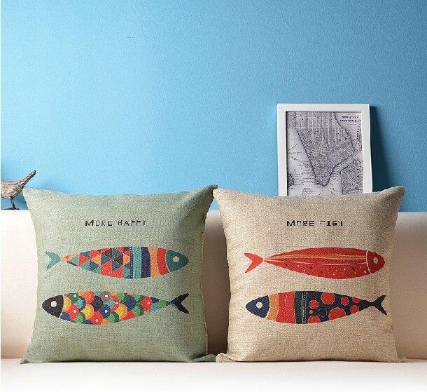 MORE HAPPY MORE FISH Cartoon Pillow  Fish Pillow Cushion  For  Home Decor Pillows  Sofa Cushions 45*45cm