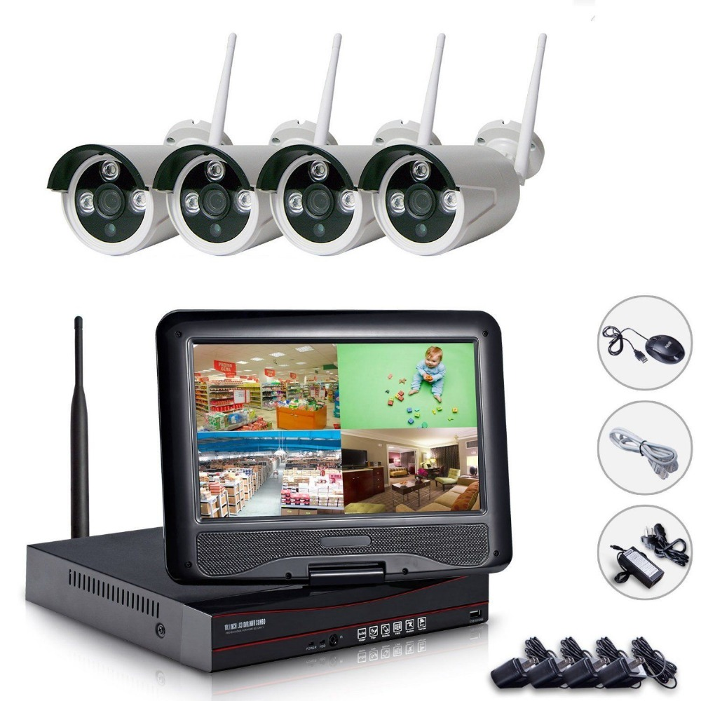Plug&Play 4CH Wireless Camera Surveillance System 10.1 LCD NVR Kit 1TB HDD P2P 1080P HD Outdoor IR WIFI CCTV IP Camera