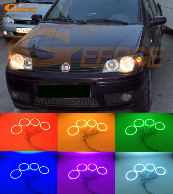 For Fiat Albea 2005 2006 2007 2008 2009 2010 2011 2012 Excellent Multi-Color Ultra bright RGB LED angel eyes Halo Rings kit for honda cr v crv 2007 2008 2009 2010 2011 projector headlights excellent ultra bright smd led angel eyes halo ring kit