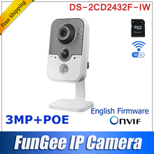 New Original Wireless  DS-2cd2432f-iw HD 4mm Lens C2 3MP IR Cube Network  PIR detection DWDR & 3D DNR & BLC WiFi & support poe