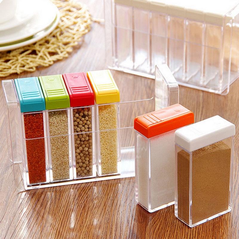 6 Pc Lot Boîtes À Épices Transparent En Plastique Assaisonnement Boîtes  Accessoires de Cuisine Sucrier Sel Boîtes De Stockage De Conteneurs Avec  Couvercle 89524084cb8