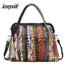 AEQUEEN Genuine Leather Women Handbags Large Capacity Patchwork Striped Shoulder Bag Ladies Vintage Crossbody Bags Random