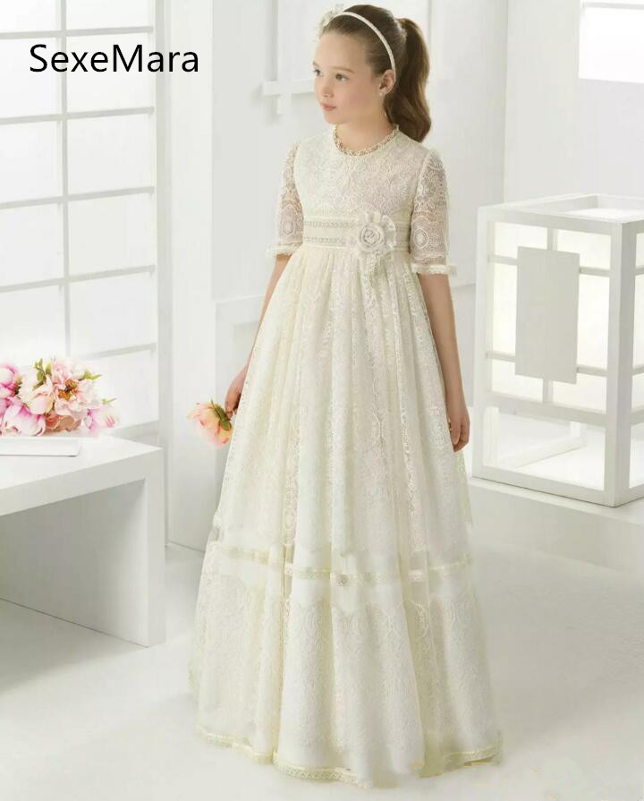 Ivory White High Quality Girls First Communion Dress Half Sleeve Lace Flowers Ankle Length Girls Dresses for Wedding Any Size uniquewho girls women floral denim shirt dress birds flowers embroidery dress long sleeve elastic waist ankle length shirtdress
