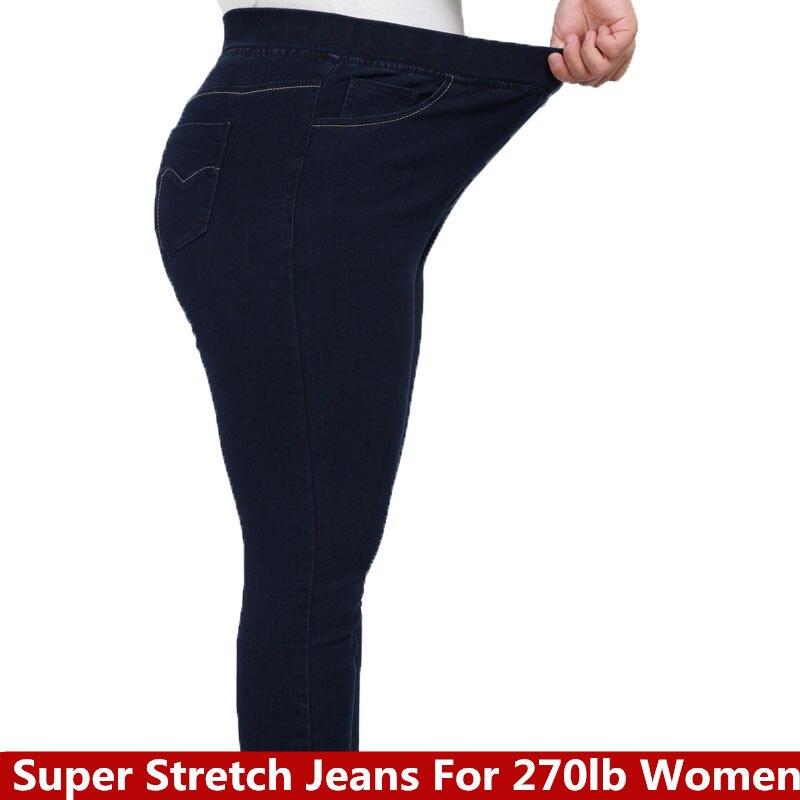 High Waist Femme Jeans Plus Size 9XL 8XL 7XL 6XL pencil pants 2018 spring casual Jeans Women trousers Denim Pants