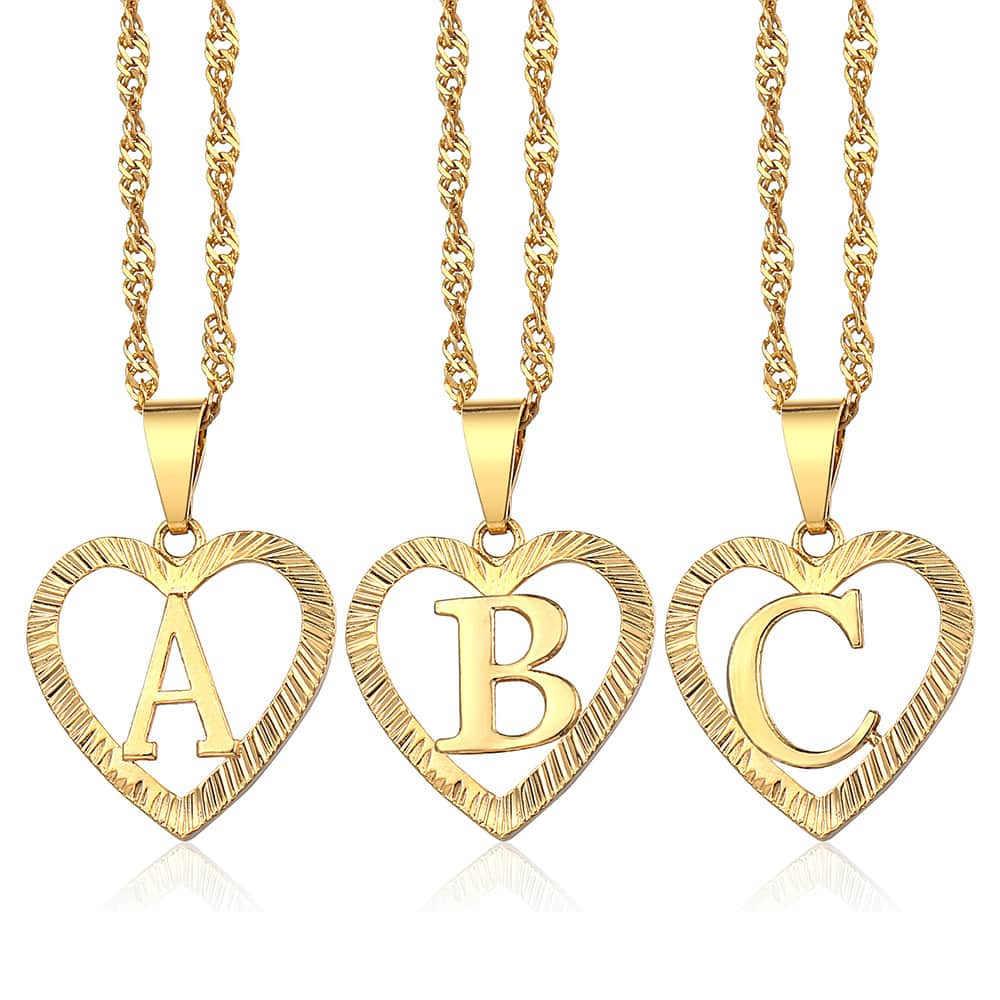 0e8381f5cd31 Letra inicial de un Z colgante collares para mujeres amor en forma de  corazón de oro