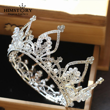 Vintage Round Tiaras Clear Austrian Rhinestones Queen Princess Crown Wedding Bridal Diadem Headpiece Hair Jewelry Accessories недорого