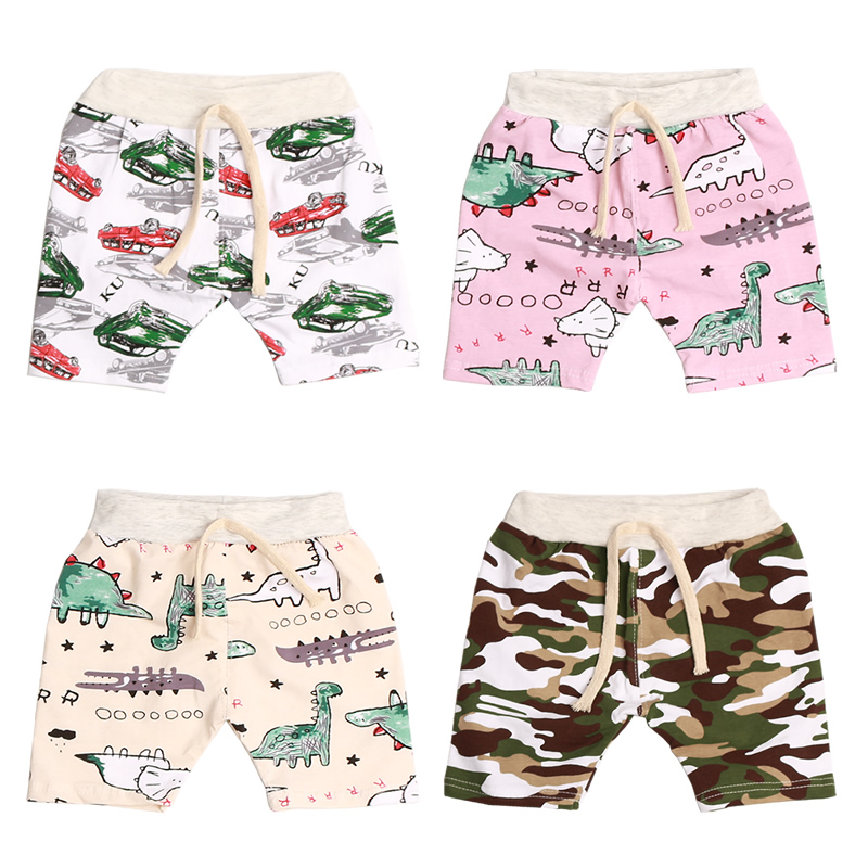 Cartoon Printing Toddler Boy Shorts Summer Children Clothing Casual Cotton Beach Shorts Elastic Waist Baby Girls Pants Kids 2-7Y grey summer girls short leggings triple ruffle panties for children baby elastic waist skinny shorts pants