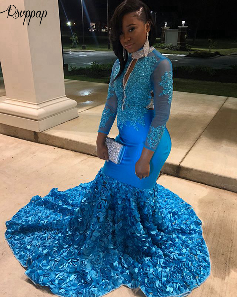 Long Elegant   Prom     Dresses   2019 High Neck Mermaid Long Sleeves Lace Beaded Backless African Black Girl Blue Feather   Prom     Dress