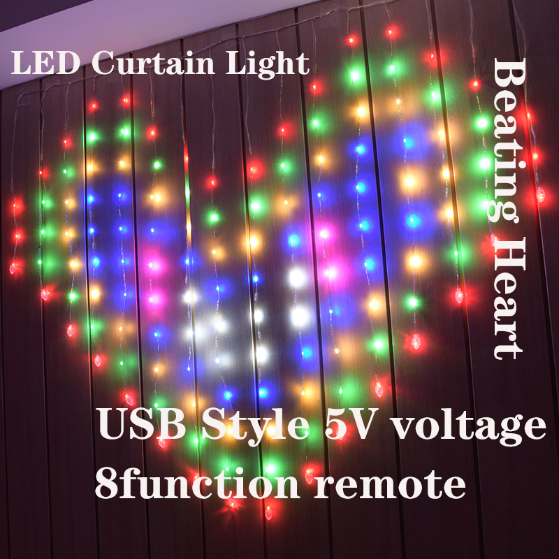 LED Icicle String Ights Fairy Lights Heart Curtain Light 128 Led Outdoor Home For Wedding/Party/Bedroom Decoration