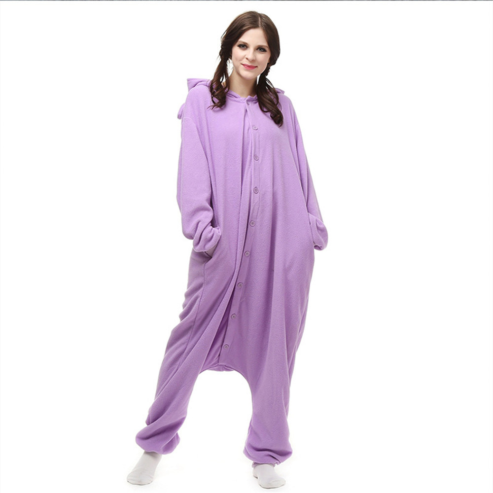 Cartoon animals Kigurumi Purple elf Onesies Pajamas Unisex Adult Pajamas Cosplay Costume Animal Onesie Sleepwear Jumpsuit