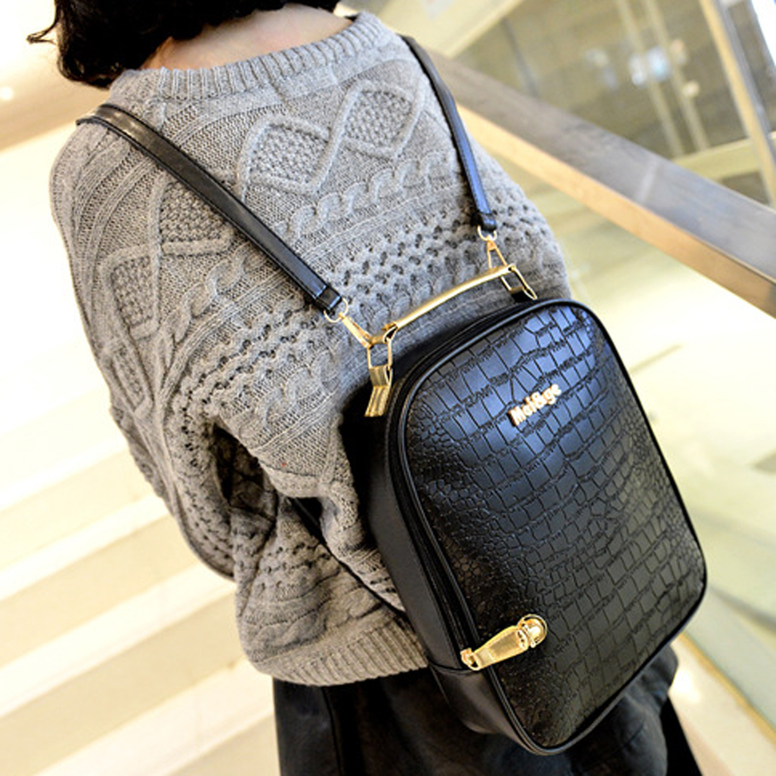 YEJIA FASHION Black Embossing Women Backpack Preppy Style Girl School Bag Casual Zipper Shoulder Back Pack