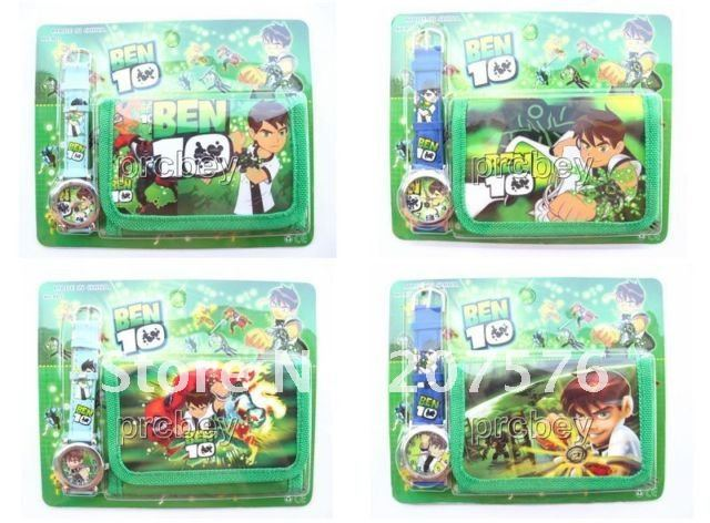 New Lot 10 sets BEN 10 kids part Set watch Wristwatch and wallet purse