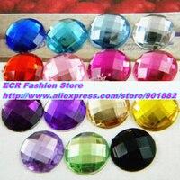 12mm 420 adet/paket, 15 renkler Karışık Yuvarlak Akrilik Rhinestones, TAYVAN Akrilik kristal Düz Geri Rhinestones, Takı aksesuarları