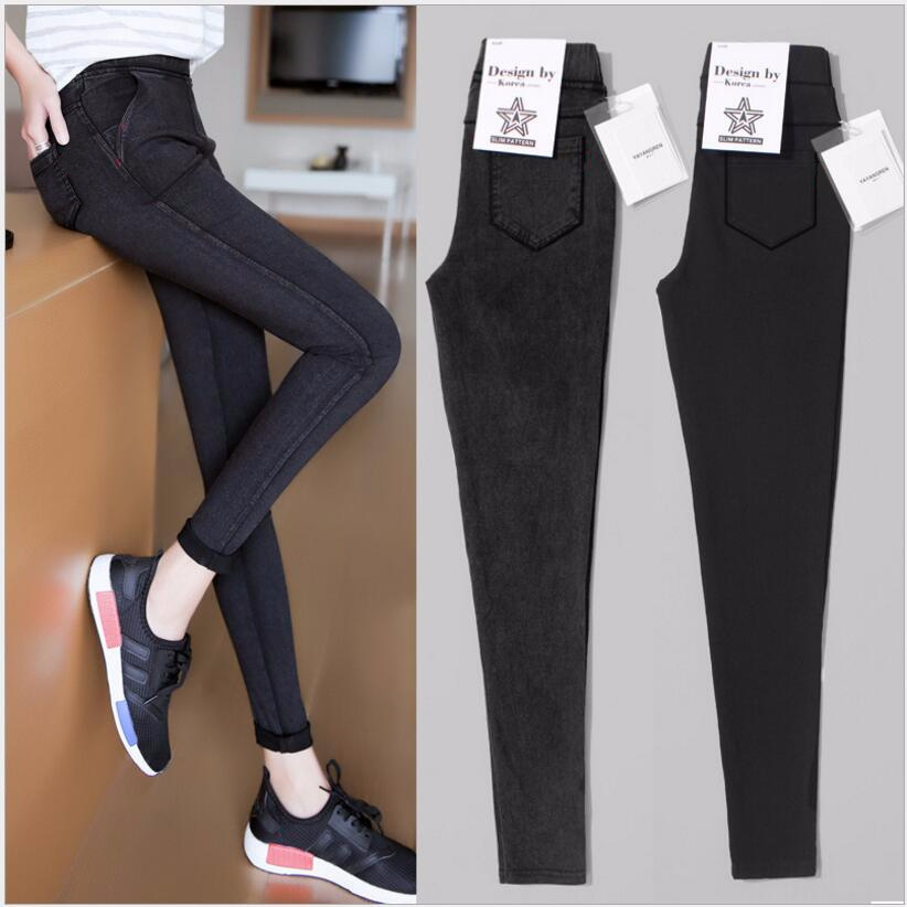 2019 Spring New   Leggings   Woman Feet Pencil Pants Thin Section Ankle Length Pants High Waist   Leggings   Plus Size 5XL Black Casual