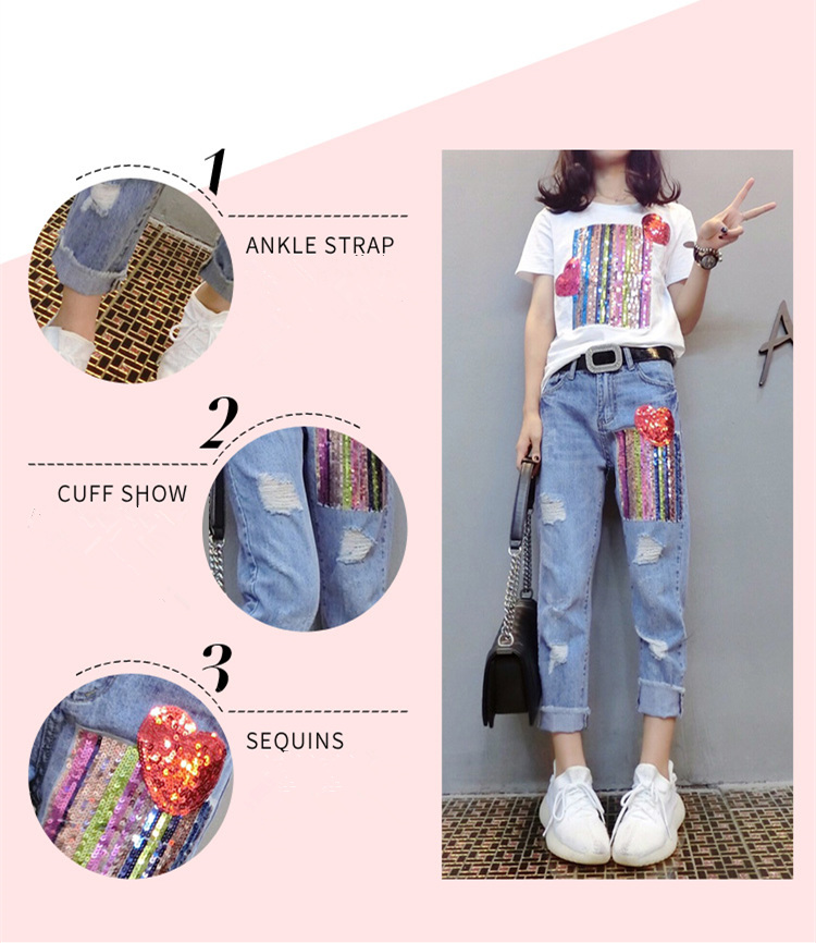 Summer Two Piece Sets Women Plus Size Short Sleeve Sequins Tshirts And Denim Ripped Jeans Sets Suits Casual Women's Sets M-5xl 30