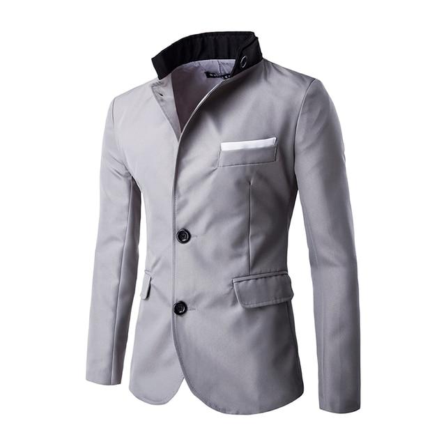 A Estrenar de Los Hombres Blazer Slim fit 3 Colores Para Hombre de Traje chaqueta de Diseño de Doble hebilla Chaqueta Informal Masculina Bolsillo Del color Del Encanto moda