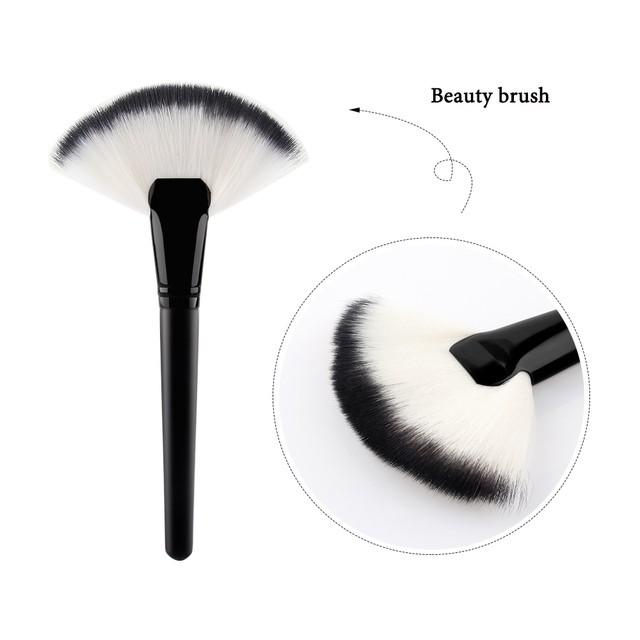 1PC Useful Soft Large Fan Shape Makeup Brush Pro Foundation Blusher Highlighter Powder Cosmetic Apply Dust Cleaning Beauty Tools Makeup Brushes
