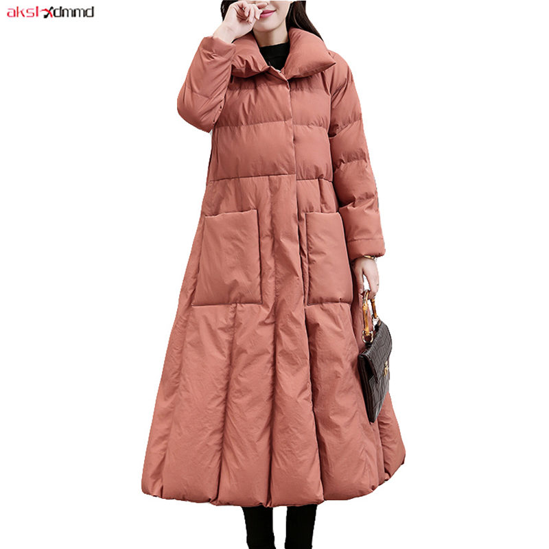 2019 New Women Winter Cotton Padded Coat X-long Solid Color Jacket Vintage Sashes Outer Korean Warm Outwear Casual   Parkas   AC313