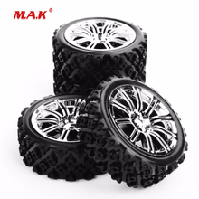 4Pcs /Set 1/10 Scale Rally Tires & Wheel Rim with 6mm Offset and 12mm Hex fit HSP HPI RC Racing Car Model Parts 4pcs set rc parts 12mm hex bead loc short course ruber tire rims for hpi hsp rc 1 10 traxxas slash
