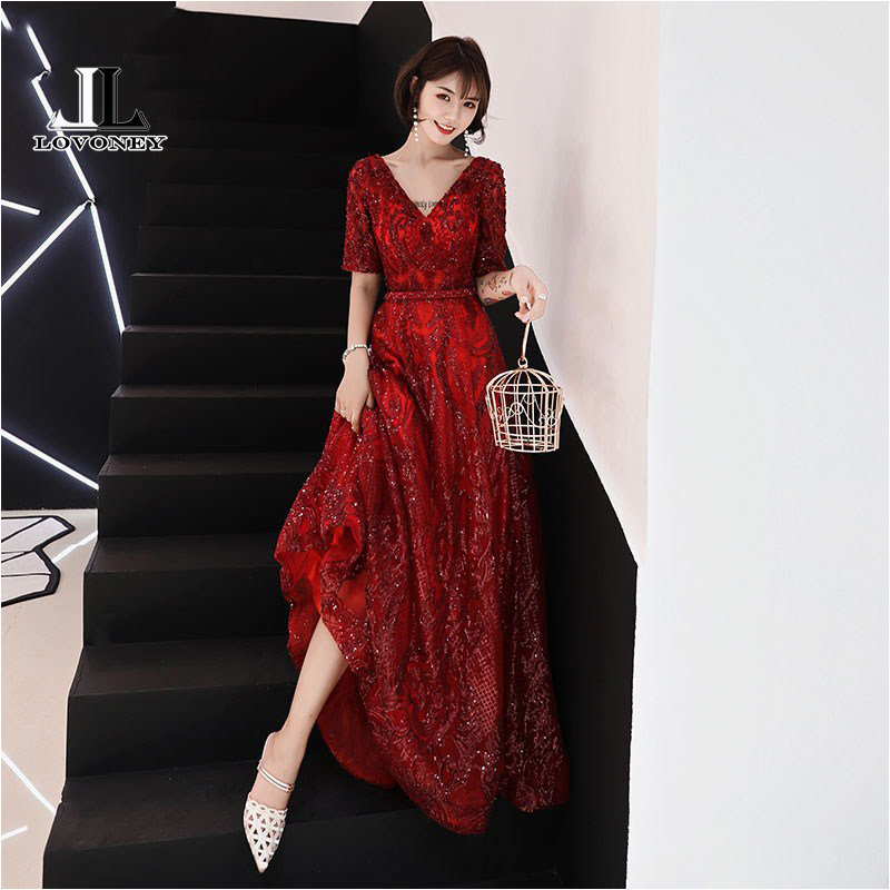 LOVONEY Elegant V Neck Sequins Evening Dress Long Open Back Half Sleeves Formal Party Dresses Evening