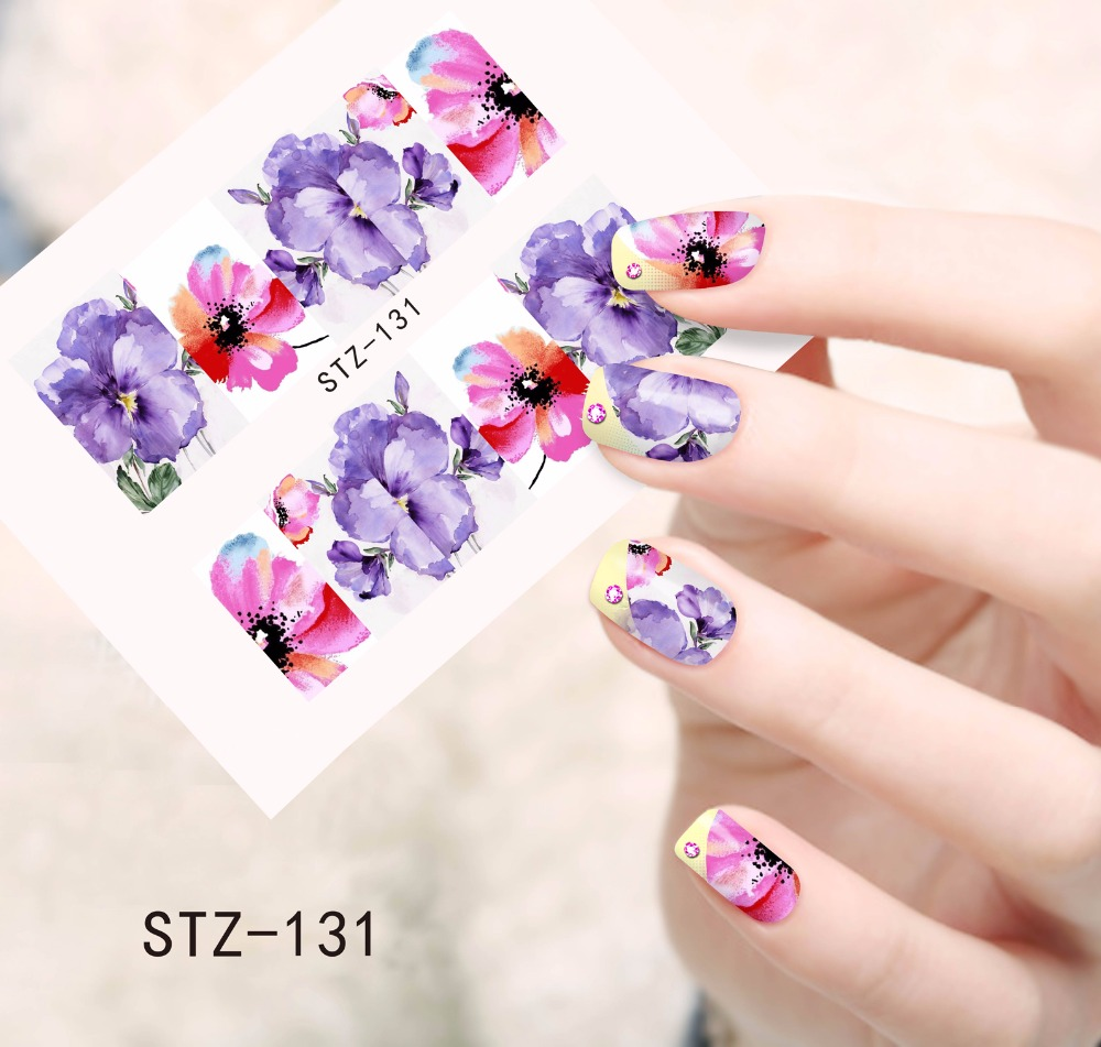 1PC Purple and Pink Printing Nail Art Image Stickers Nail Decals Water Transfer Full Wraps Foils Beauty Care Tools SASTZ131 воск beauty image воск в кассетах белый 145 гр