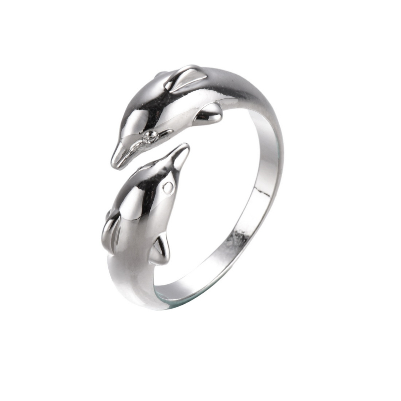 pure s925 sterling silver lovers couples dolphin adjustable open size engagement wedding ring unisex jewelry gift - Cheap Wedding Ring