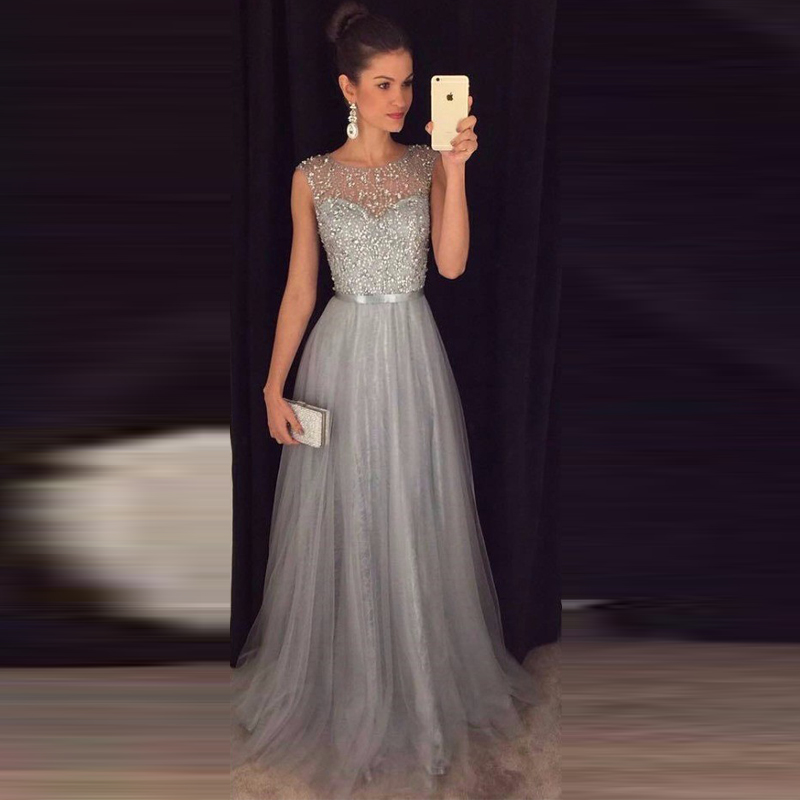Gray Long Prom Dresses Beaded Tulle Sequin A line Long