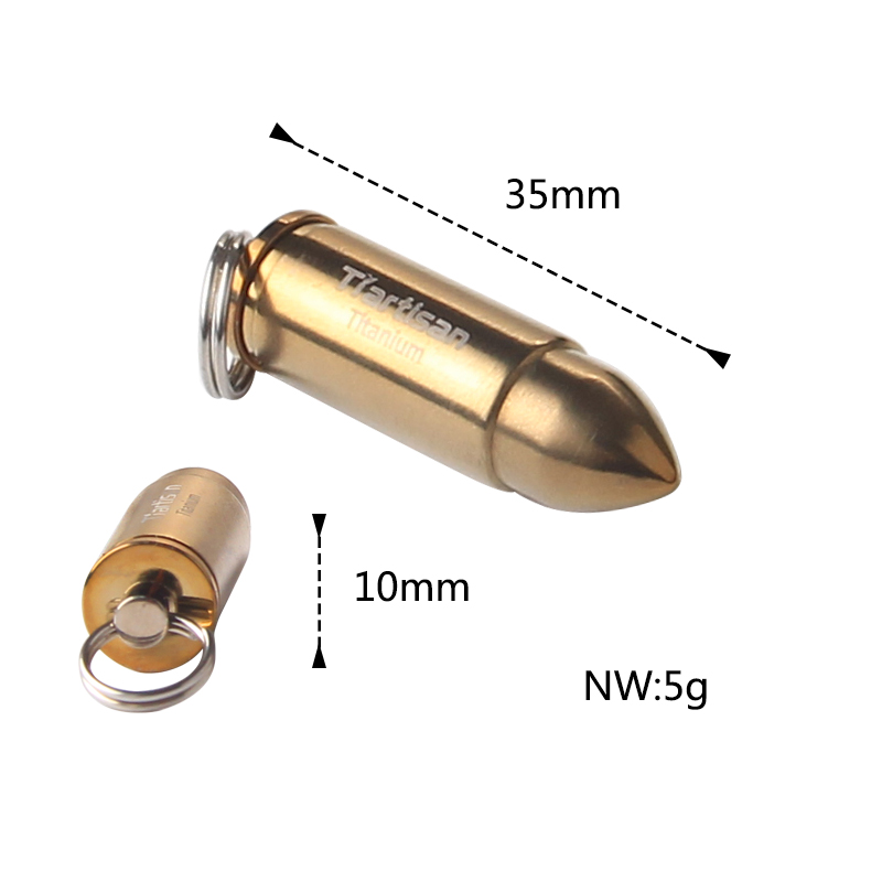 Tiartisan Outdoor Camping Accessories Portable Titanium Bullet Pendant Waterproof box with Keychain and necklace in Outdoor Tablewares from Sports Entertainment