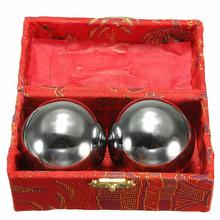 HOT 2Pcs Fitness Balls Solid Chrome 53mm Baoding Balls Chinese Health Exercise Therapy Stress Balls For Body Building