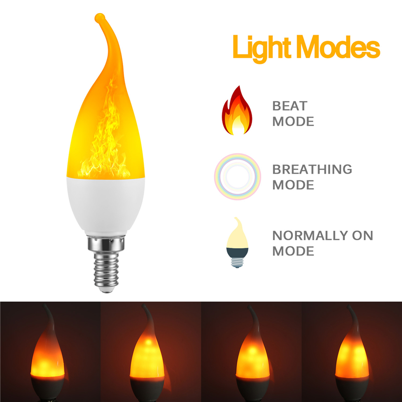 3 Modes LED Flame Lamp E14 E27 B22 LED Flame Effect Fire Light Bulb Flickering Emulation Light 110V 220V For Halloween Christmas