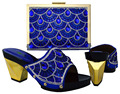 Royal Blue Italian Shoes With Matching Bags For Party High Quality African Shoes And Bags Set With Crystal For Wedding BCH-17