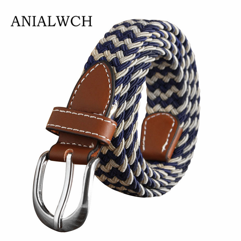 24color Real Stripe Elastic Waist Men's Braided   Belt   Unisex 2019 Casual   Belts   With Student Wide Cinturon Elastico Mujer U016