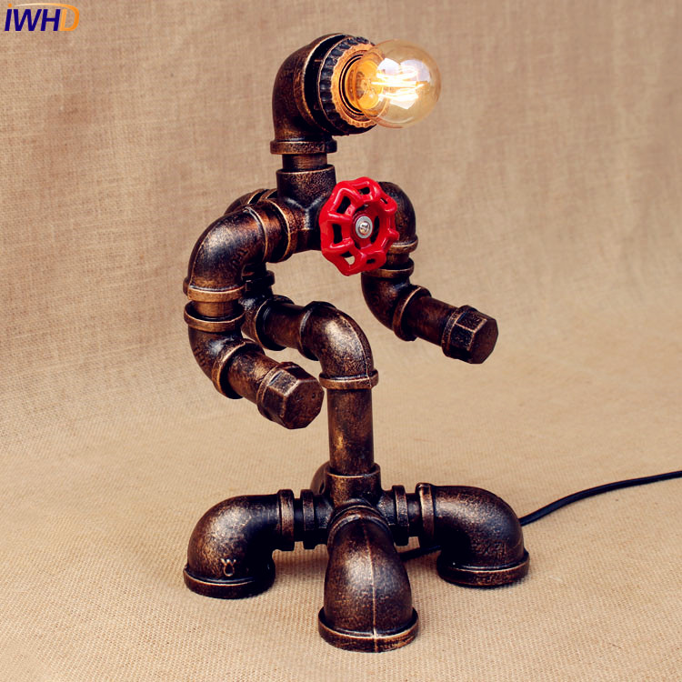 IWHD Water Pipe Vintage Table Lamp For Bedroom Living Room Iron Loft Style Metal Creative Robot Lampara Luminaria De Mesa vintage loft industrail iron water pipe desk lamp personality creative table lamp for home room bar light luminaria de mesa