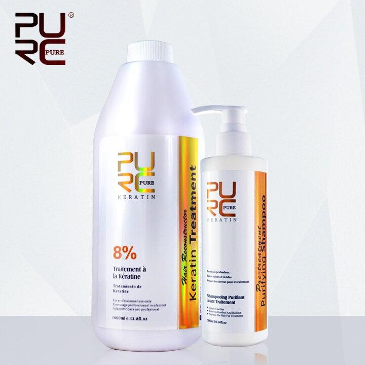 Кератин сглаживание лечение 8% фиксированных формалином парафином и глубокий очистительные шампунь для выпрямления волос получить подарок...