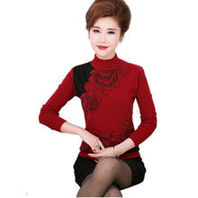 c7399ad8a0f3f WAEOLSA Chinese Woman Turtle Neck Sweater Red Gray Khaki Pullovers Middle  Aged Womens Sequined Knitted Sweaters