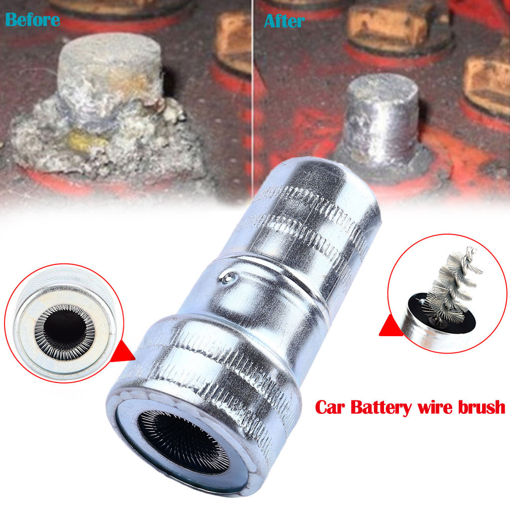 Us 1 04 13 Off Car Cleaning Battery Post Terminal Cable Cleaner Dirt Corrosion Brush Hand Tool 2 Places For Cleaning Stainless Steel 8z In Car