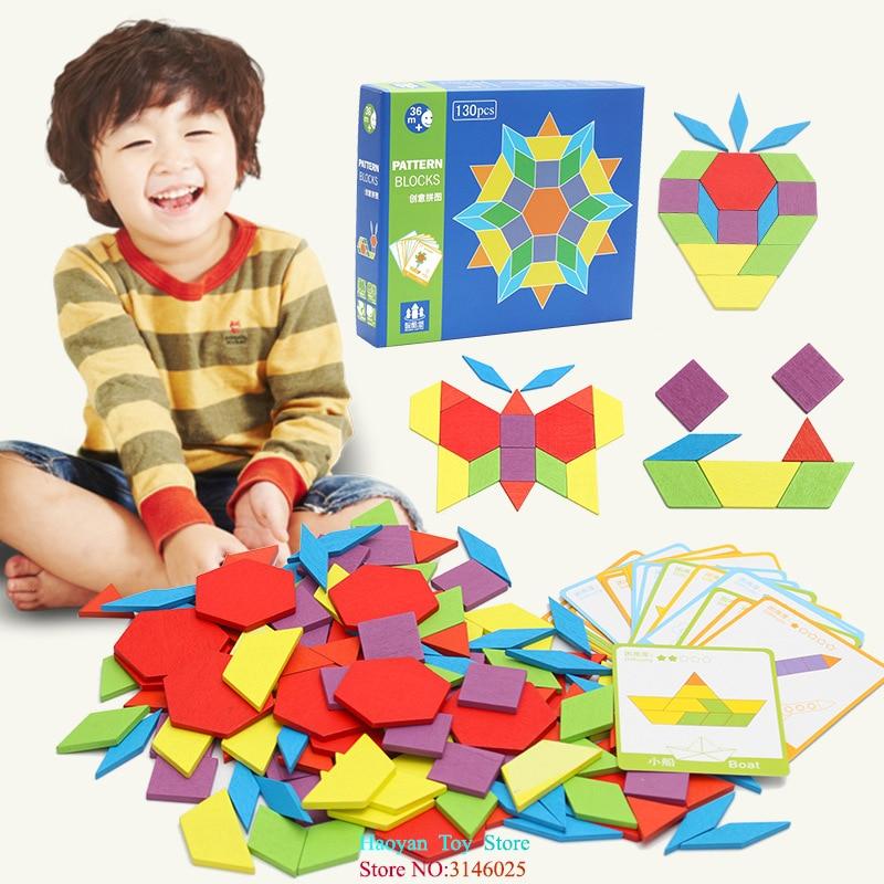 Yanzchild 130pcs Wooden Puzzle Games Montessori