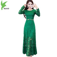 07508f17c8899 2018 Spring Women S Lace Dresses New Fashion Long Sleeves Slim Dress Solid  Color Long Section