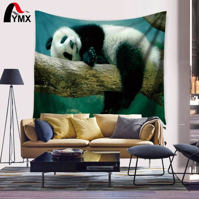 Animal Decor Collection Picture Tapestry of Panda Zoo Sitting on ...