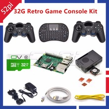 52Pi Raspberry Pi 3 Model B 32GB RetroPie Game Kit with Wireless Controllers Gamepad Power Supply 5.1V 2.5A Charger Adapter