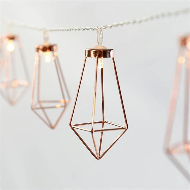 10Led/20Led Rose Gold Diamond Shape LED String Lights Decorative Fairy Light string for Holiday Party Wedding Bedroom