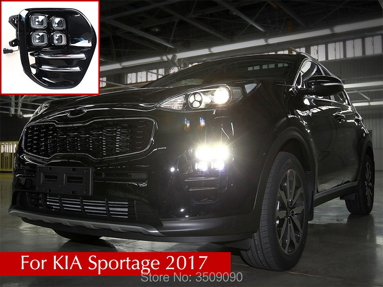 For KIA Sportage 2017 Car Day Running Light DRL Daytime Running Lights With Fog Lamp Hole Car Styling 2Pcs/Set 2pcs car accessories led lights drl daytime running light auto lamp for bmw x6 e71 2008 2012 cars day running light
