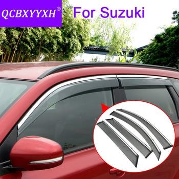 QCBXYYXH Car Styling 4pcs/lot Window Visors For Suzuki Vitara S.Cross Swift SX4 Alto 2008-2018 Sun Rain Shield Stickers Covers