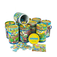 80 Pieces Cartoon Puzzle Portable Easy To Carry Put In Bucket Jigsaw Creative Educational Toys For